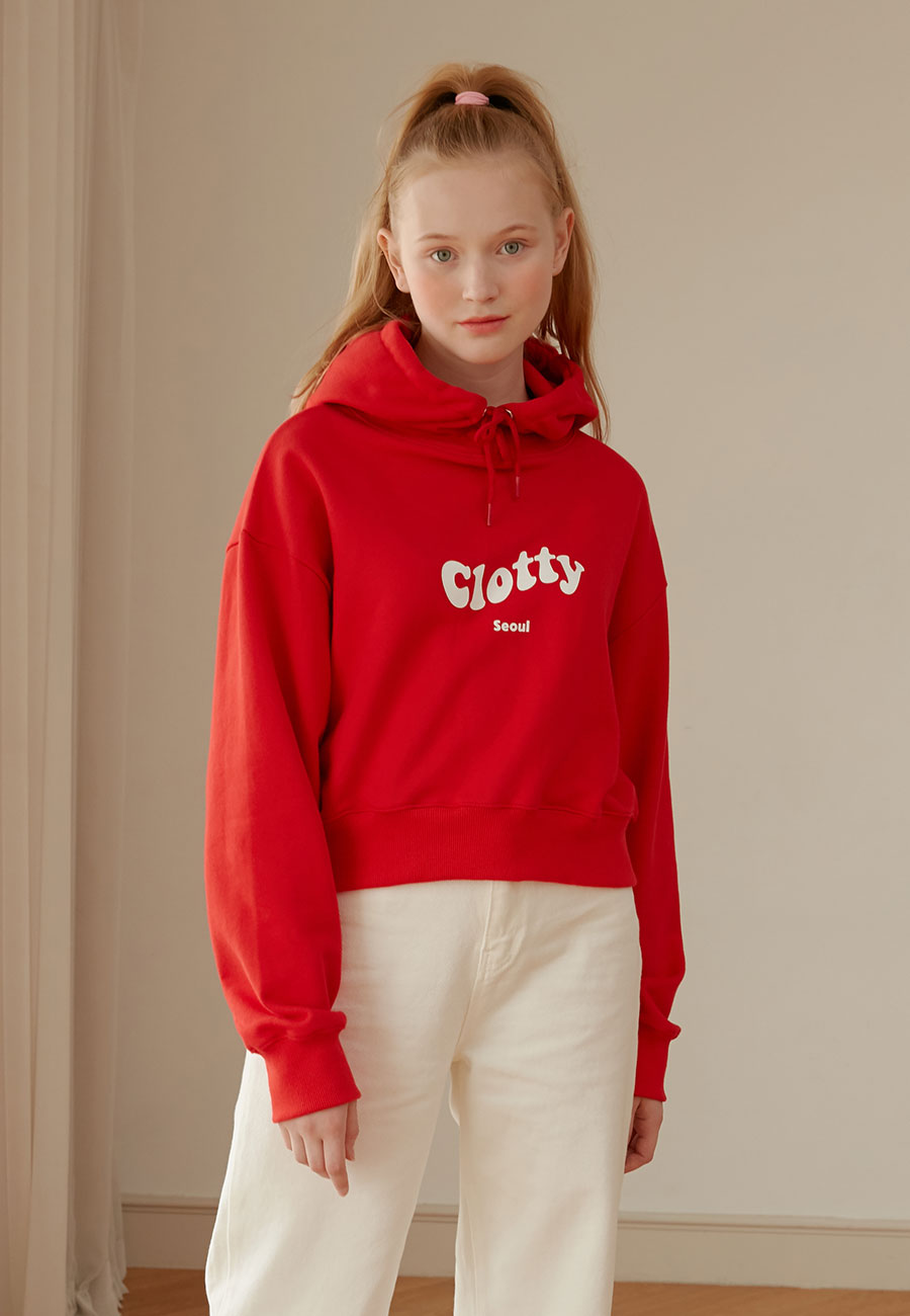 CLOTTY PLAY CROP HOODIE[RED]