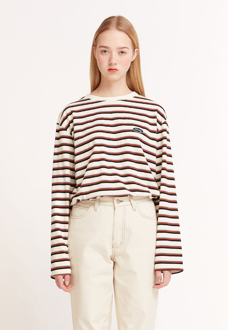 STRIPE COLOR PATCH LONG SLEEVE[IVORY]