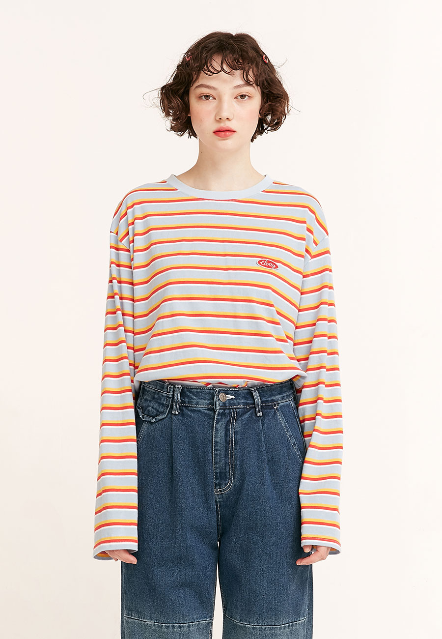 STRIPE COLOR PATCH LONG SLEEVE[SKY BLUE]