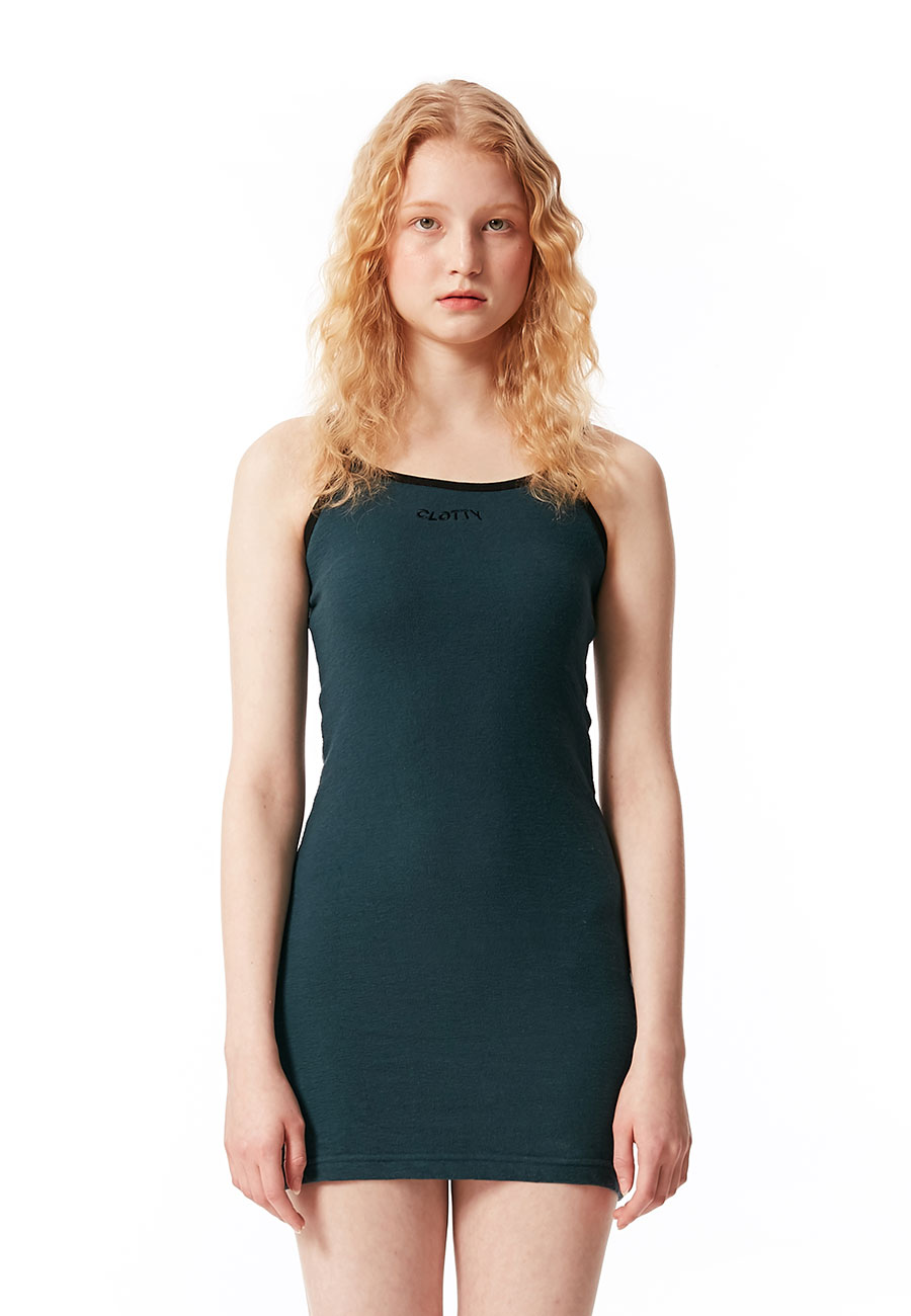 LOGO SLEEVELESS ONE-PIECE[DEEP GREEN]