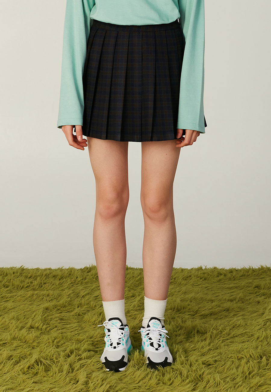 LOGO LABEL PLEATS SKIRT[NAVY]