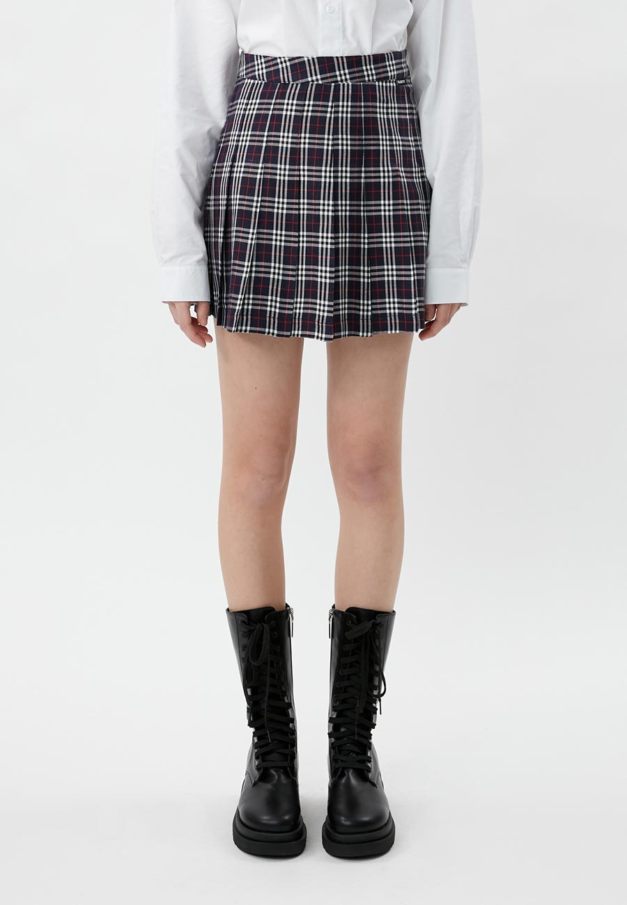 LABEL PLEATS SKIRT[NAVY]
