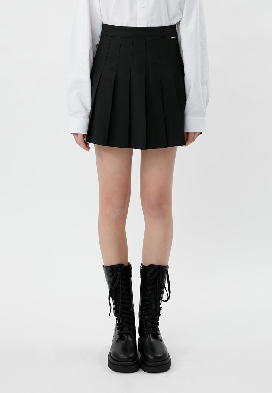 LABEL PLEATS SKIRT[BLACK]