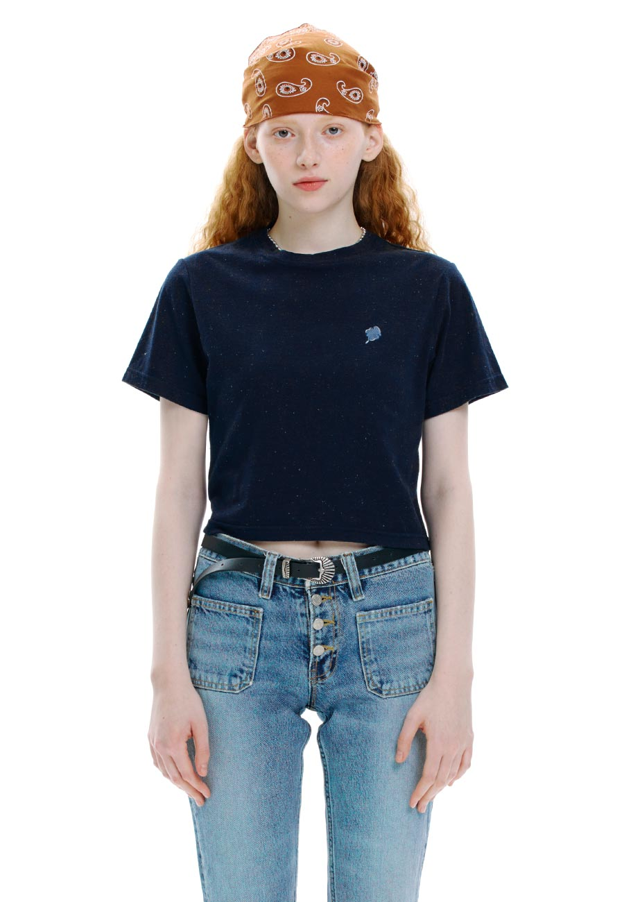 NEP CROP T-SHIRT[NAVY]