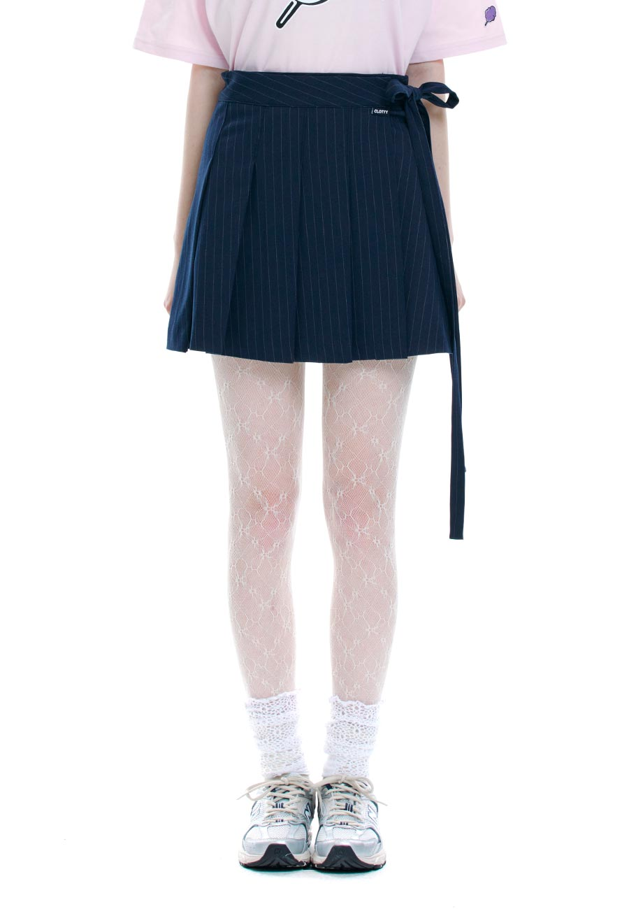WRAP PLEATS SKIRT[NAVY]