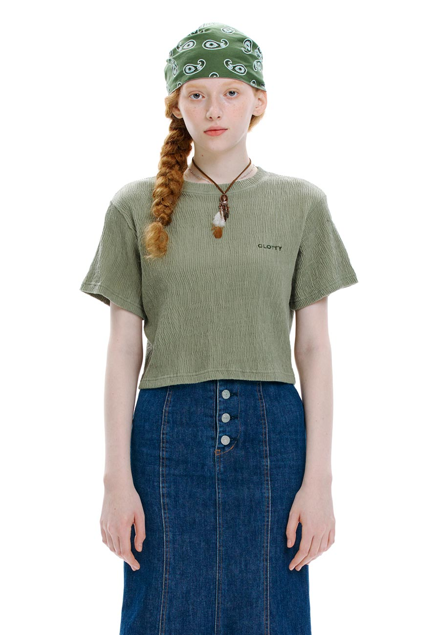 CREASE CROP T-SHIRT[KHAKI]