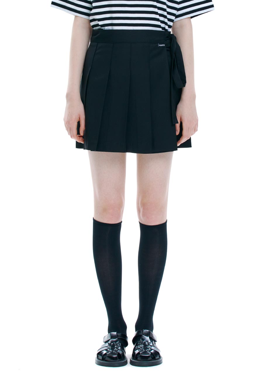 WRAP PLEATS SKIRT[BLACK]