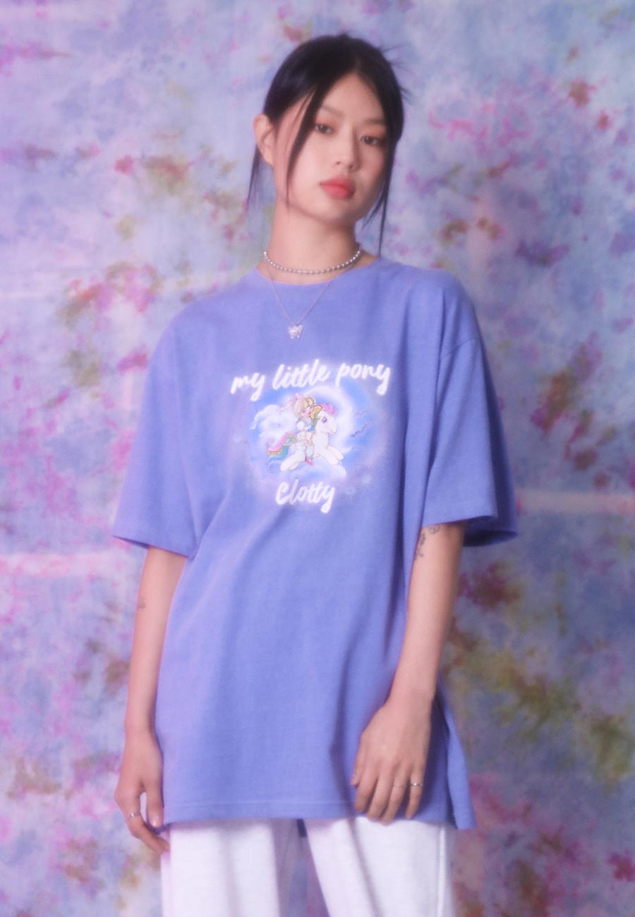 GIRL PONY PIGMENT T-SHIRT[DEEP BLUE]