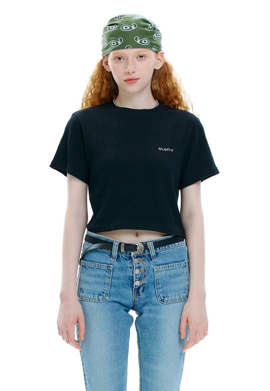 CREASE CROP T-SHIRT[BLACK]
