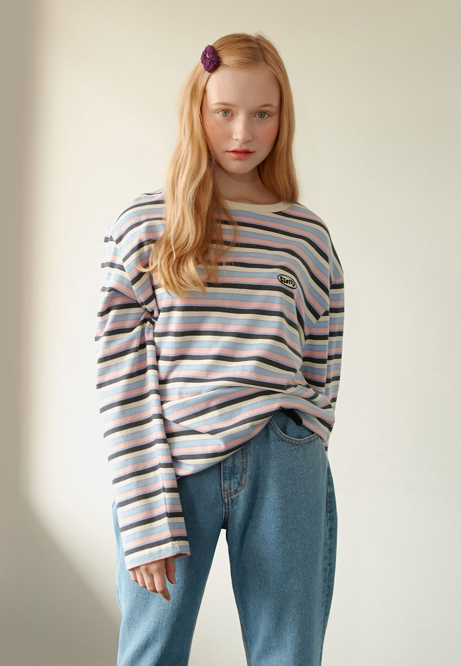 [LAST ORDER]STRIPE PATCH LONG SLEEVE[PINK]