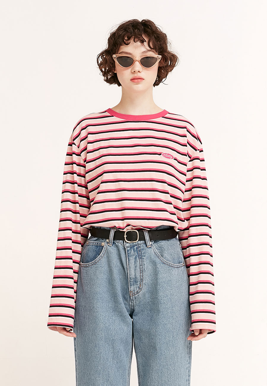 STRIPE COLOR PATCH LONG SLEEVE[PINK]