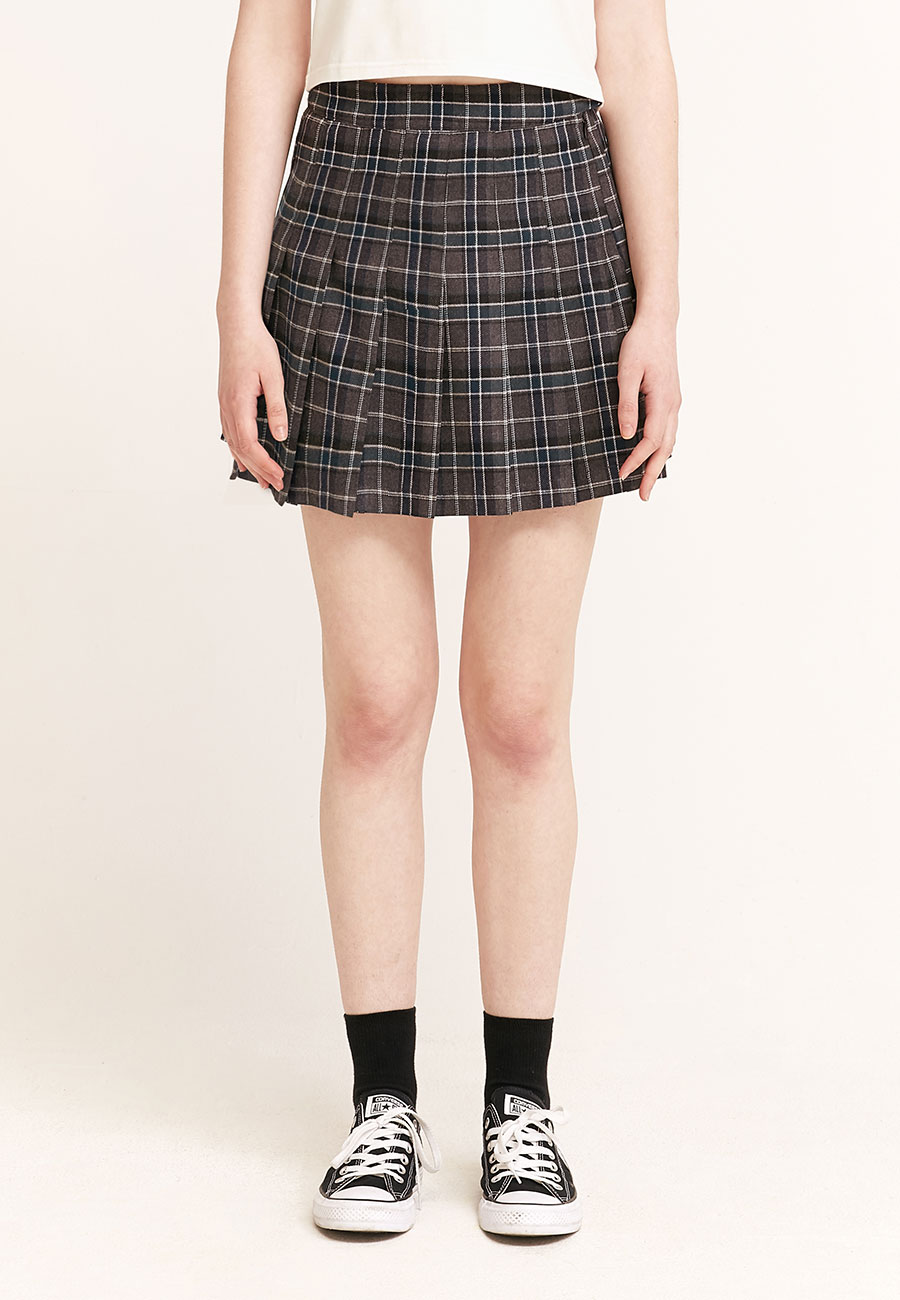 LOGO LABEL PLEATS SKIRT[GREY]