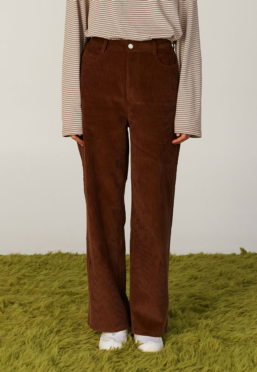 BASIC LOGO LABEL PANTS[BROWN]