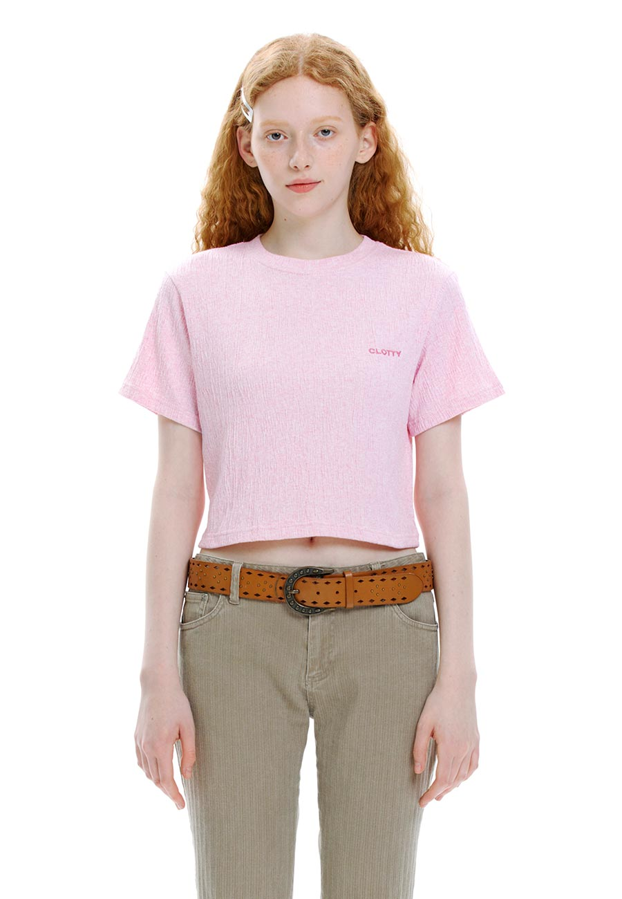 CREASE CROP T-SHIRT[PINK]